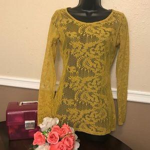 Lace mustard long sleeve